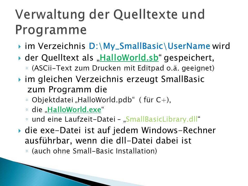 Verwaltung der Quelltexte und Programme