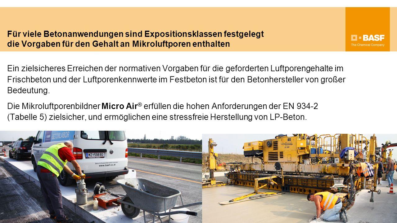 Für viele Betonanwendungen sind Expositionsklassen festgelegt die Vorgaben für den Gehalt an Mikroluftporen enthalten