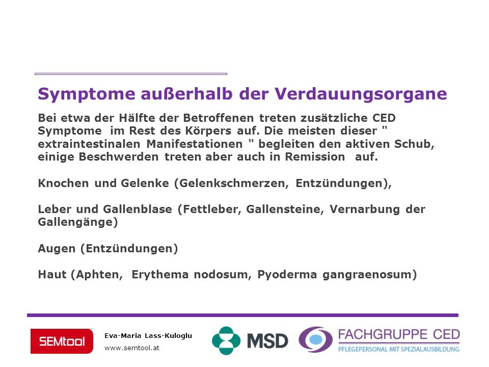 Symptome außerhalb der Verdauungsorgane
