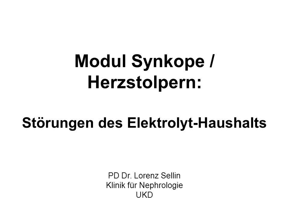 Modul Synkope / Herzstolpern: Störungen des Elektrolyt-Haushalts