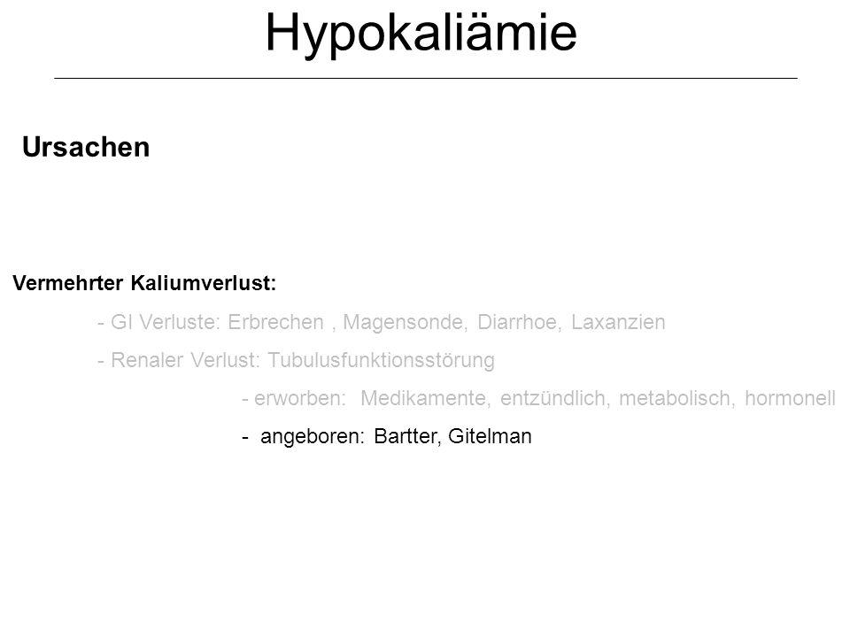 Hypokaliämie Ursachen Vermehrter Kaliumverlust: