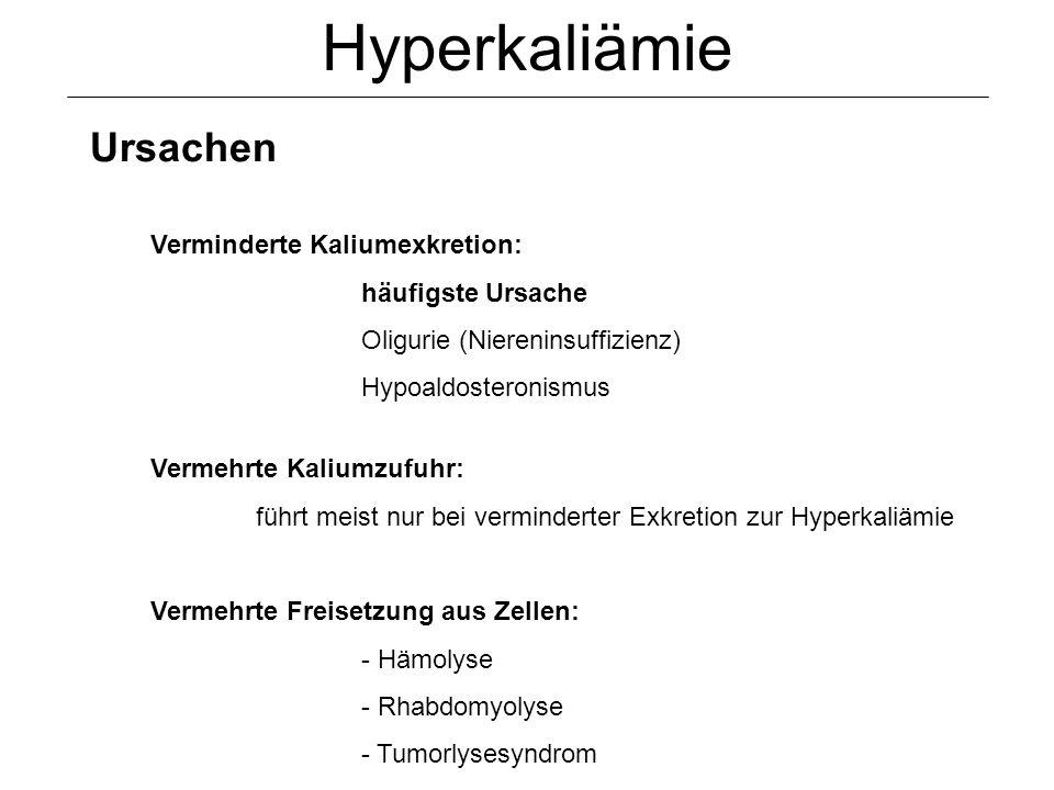 Hyperkaliämie Ursachen Verminderte Kaliumexkretion: häufigste Ursache