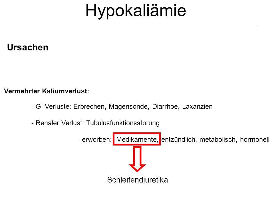 Hypokaliämie Ursachen Schleifendiuretika Vermehrter Kaliumverlust: