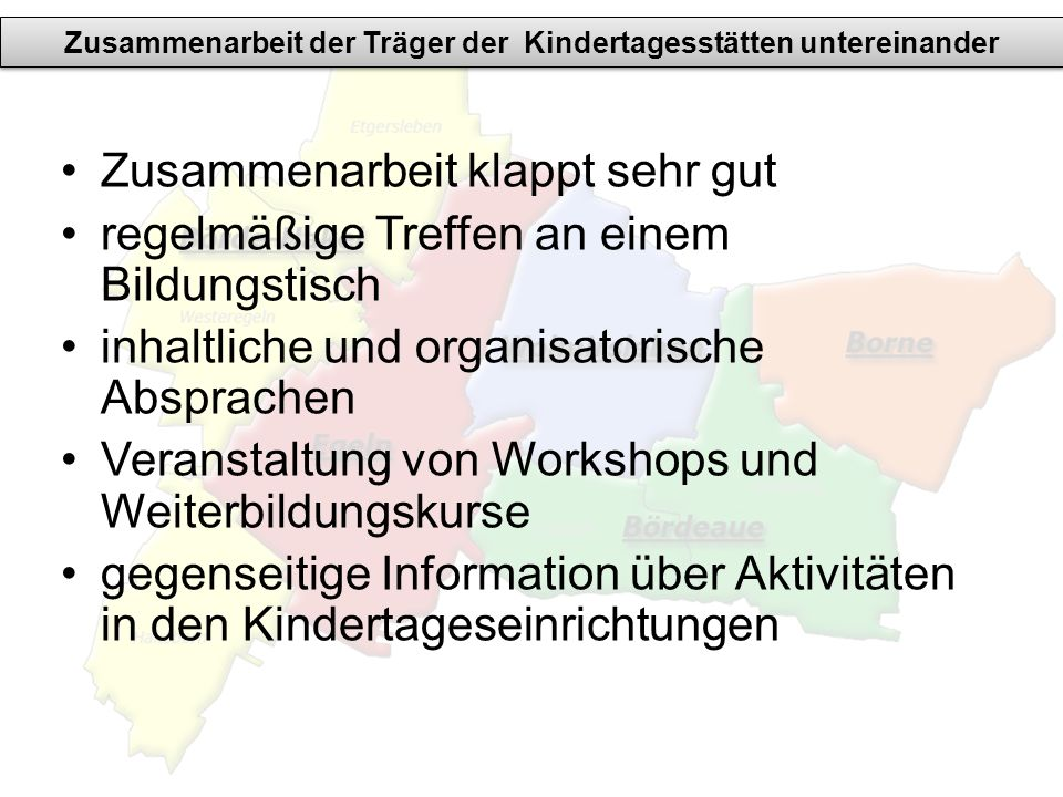 Zusammenarbeit der Träger der Kindertagesstätten untereinander