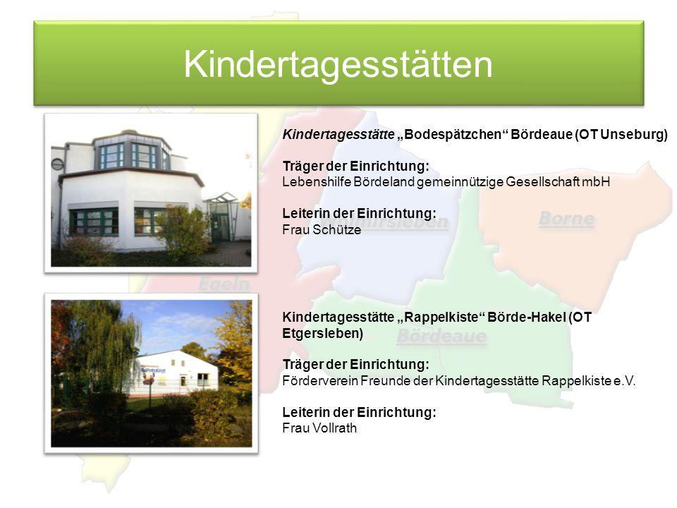 """Kindertagesstätten Kindertagesstätte """"Bodespätzchen Bördeaue (OT Unseburg) Träger der Einrichtung:"""