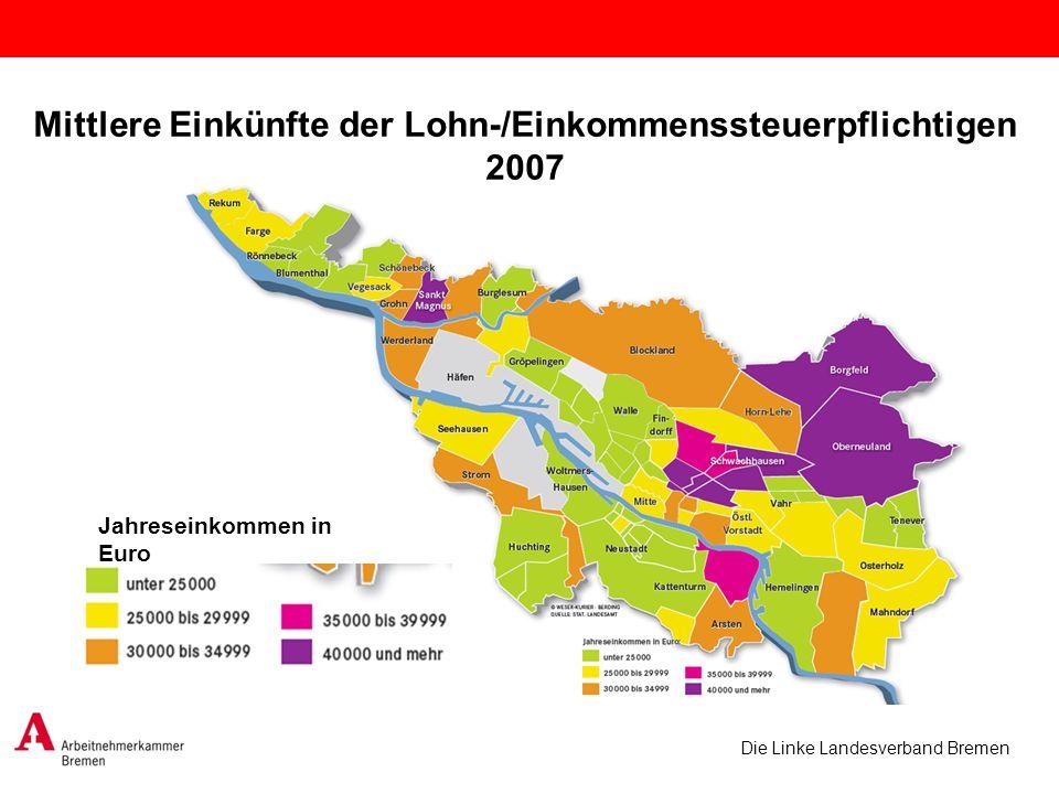 Mittlere Einkünfte der Lohn-/Einkommenssteuerpflichtigen 2007