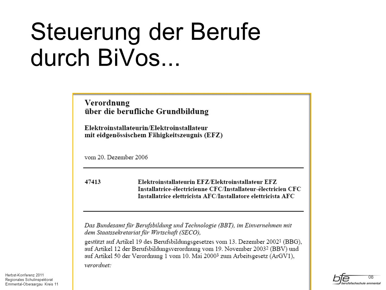 Steuerung der Berufe durch BiVos...