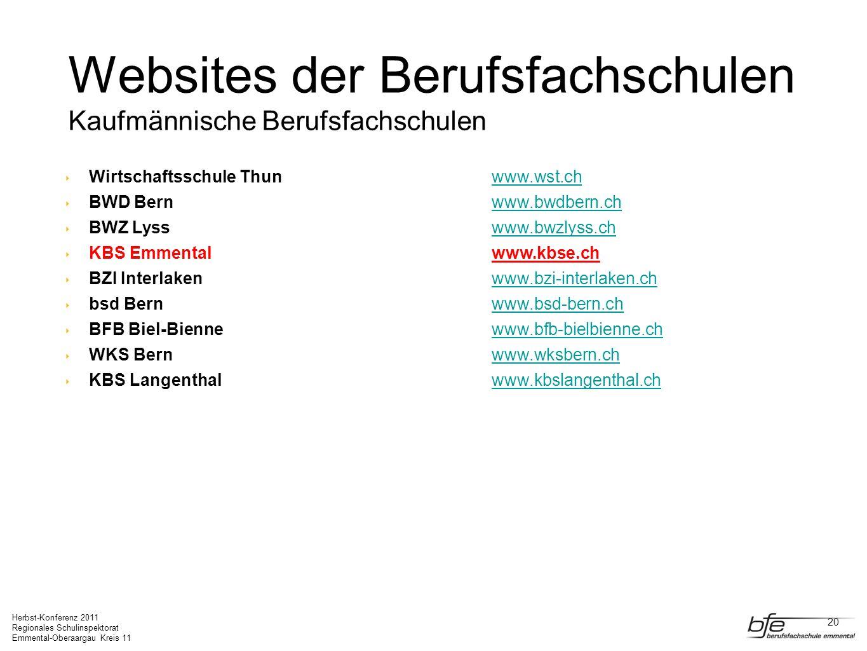 Websites der Berufsfachschulen Kaufmännische Berufsfachschulen
