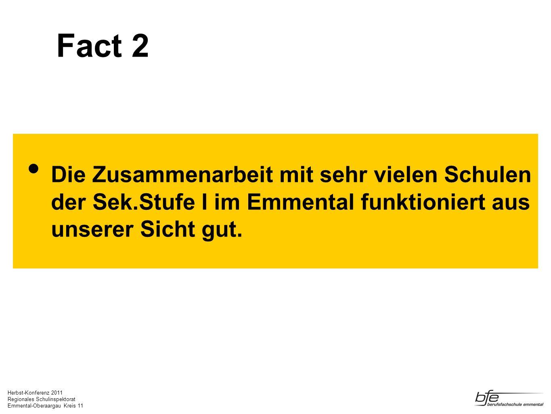 Fact 2 Die Zusammenarbeit mit sehr vielen Schulen der Sek.Stufe I im Emmental funktioniert aus unserer Sicht gut.