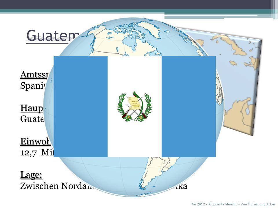Guatemala Amtssprache: Spanisch Hauptstadt: Guatemala-City Einwohner: 12,7 Millionen Lage: Zwischen Nordamerika und Südamerika