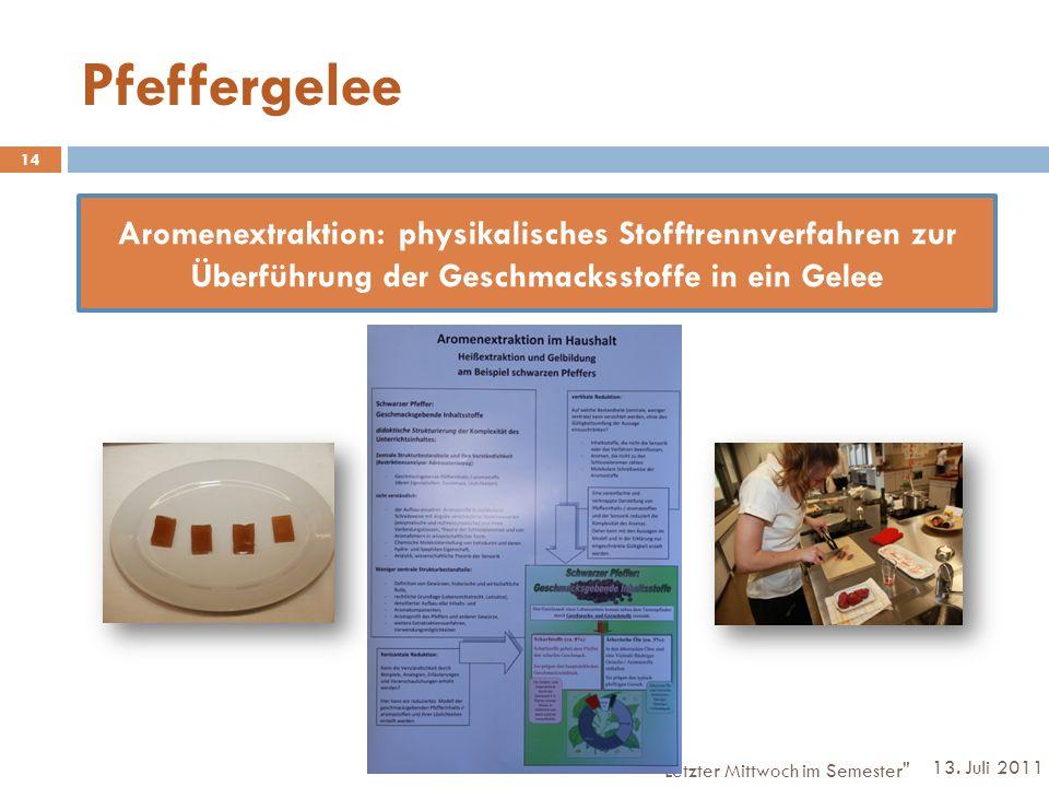 Pfeffergelee Aromenextraktion: physikalisches Stofftrennverfahren zur Überführung der Geschmacksstoffe in ein Gelee.