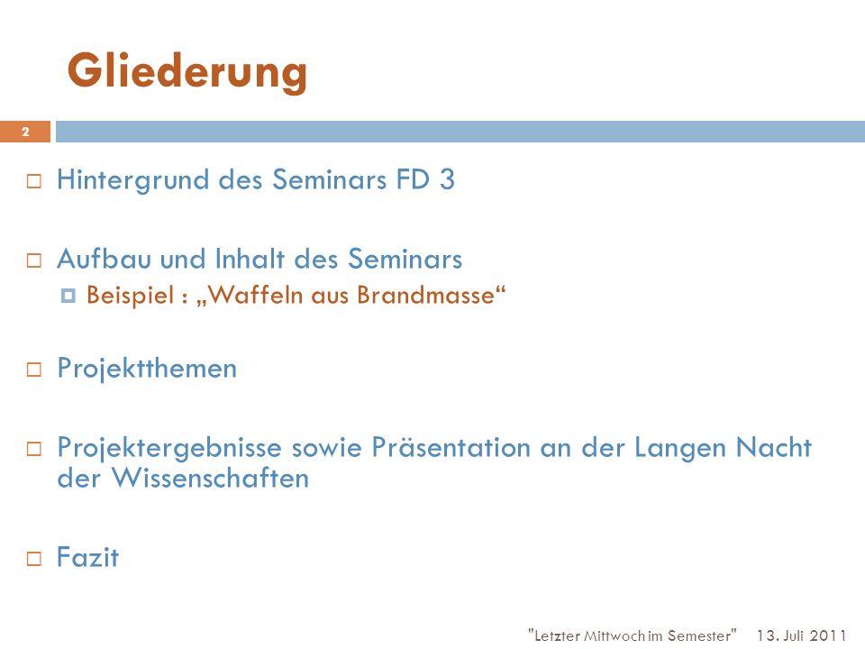 Gliederung Hintergrund des Seminars FD 3