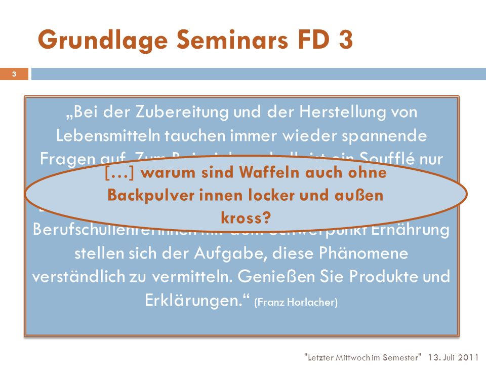 Grundlage Seminars FD 3