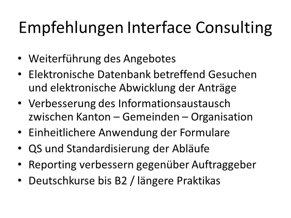 Empfehlungen Interface Consulting