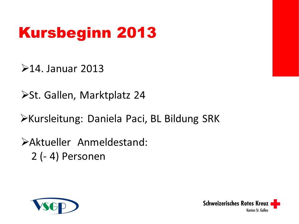 Kursbeginn 2013 14. Januar 2013 St. Gallen, Marktplatz 24