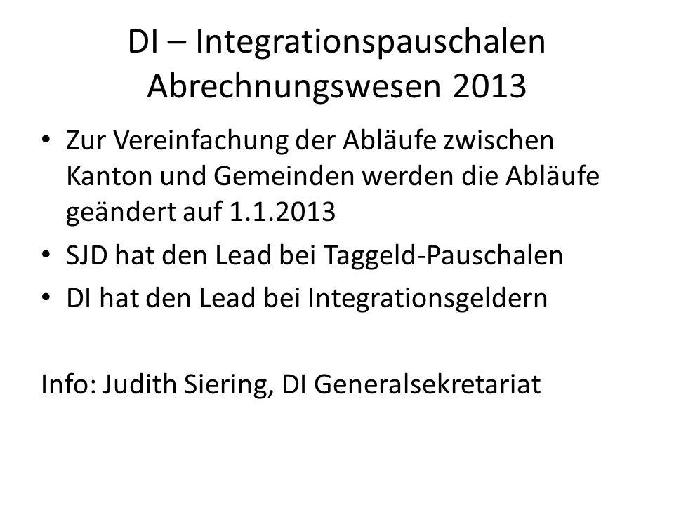 DI – Integrationspauschalen Abrechnungswesen 2013