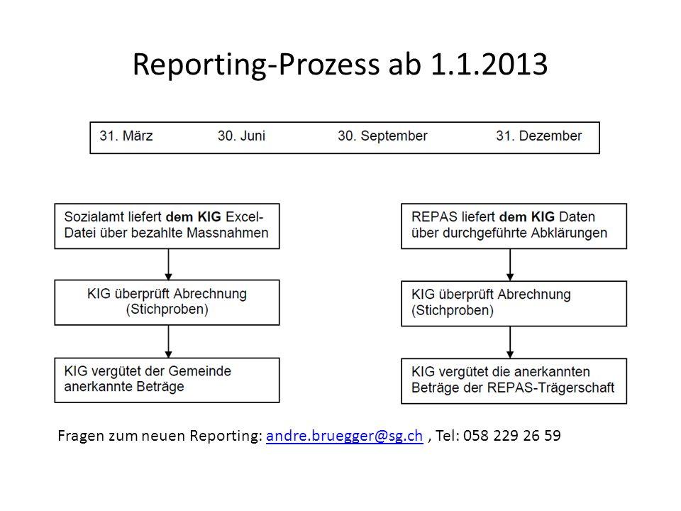 Reporting-Prozess ab 1.1.2013 Fragen zum neuen Reporting: andre.bruegger@sg.ch , Tel: 058 229 26 59