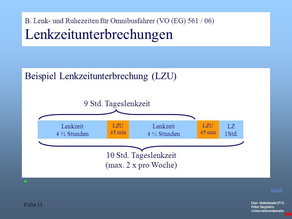 10 Std. Tageslenkzeit (max. 2 x pro Woche)