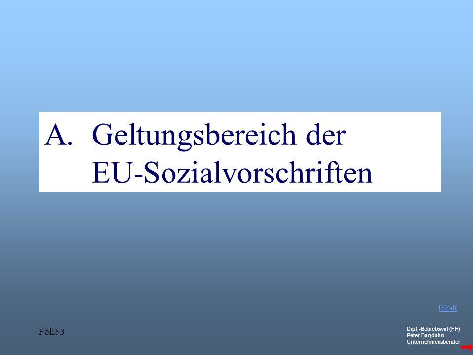 Geltungsbereich der EU-Sozialvorschriften