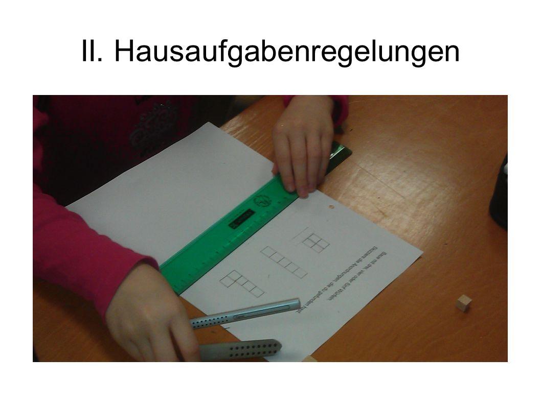 II. Hausaufgabenregelungen