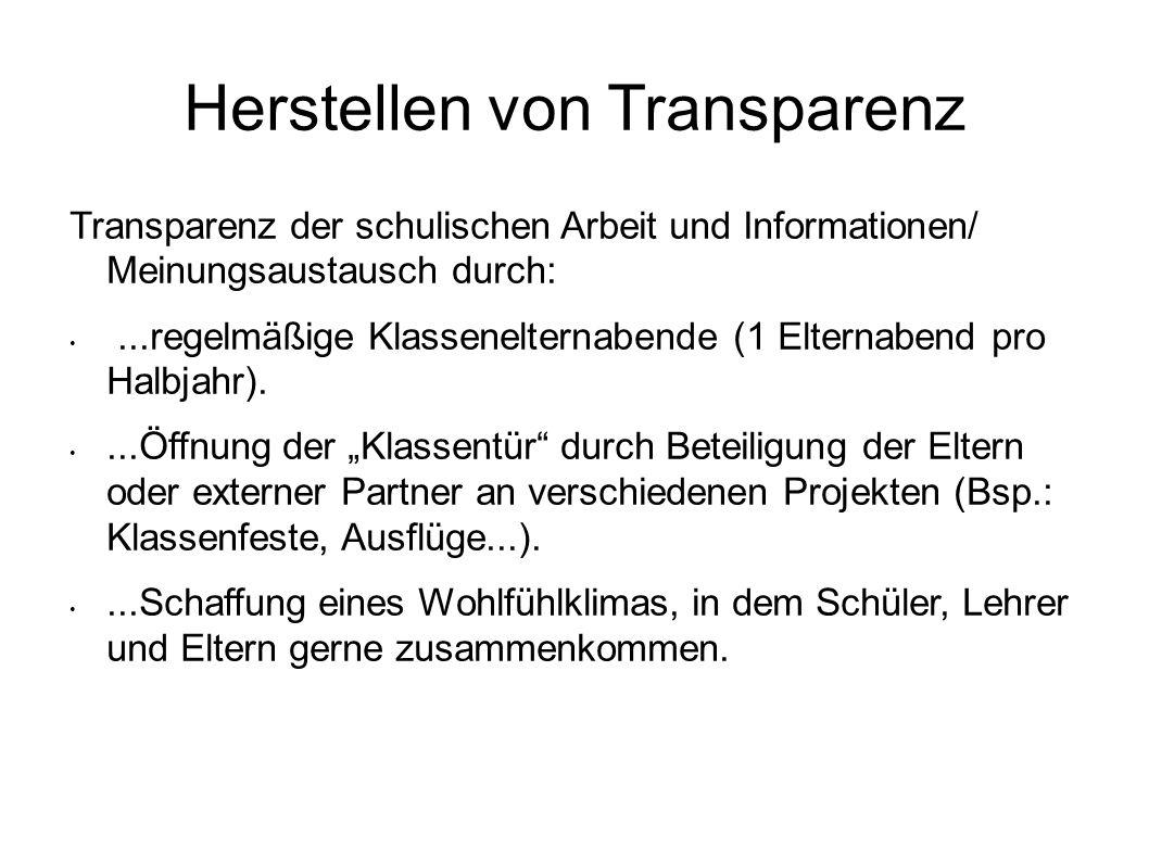 Herstellen von Transparenz