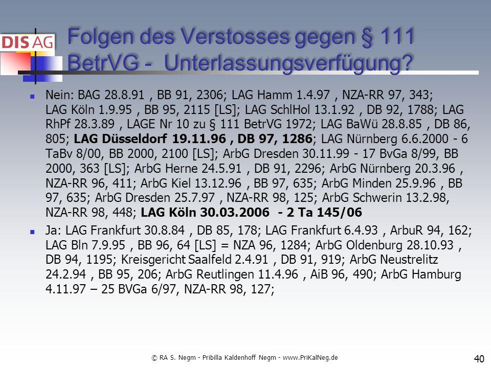 Folgen des Verstosses gegen § 111 BetrVG - Unterlassungsverfügung