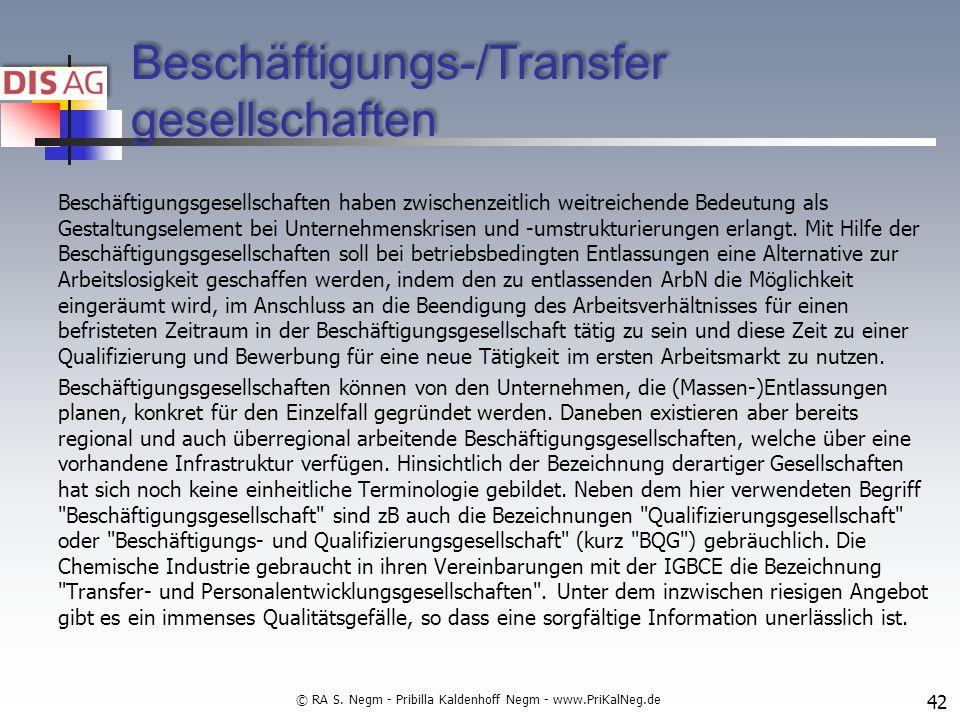 Beschäftigungs-/Transfer gesellschaften