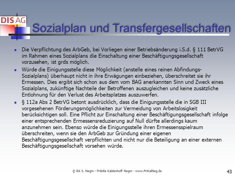 Sozialplan und Transfergesellschaften
