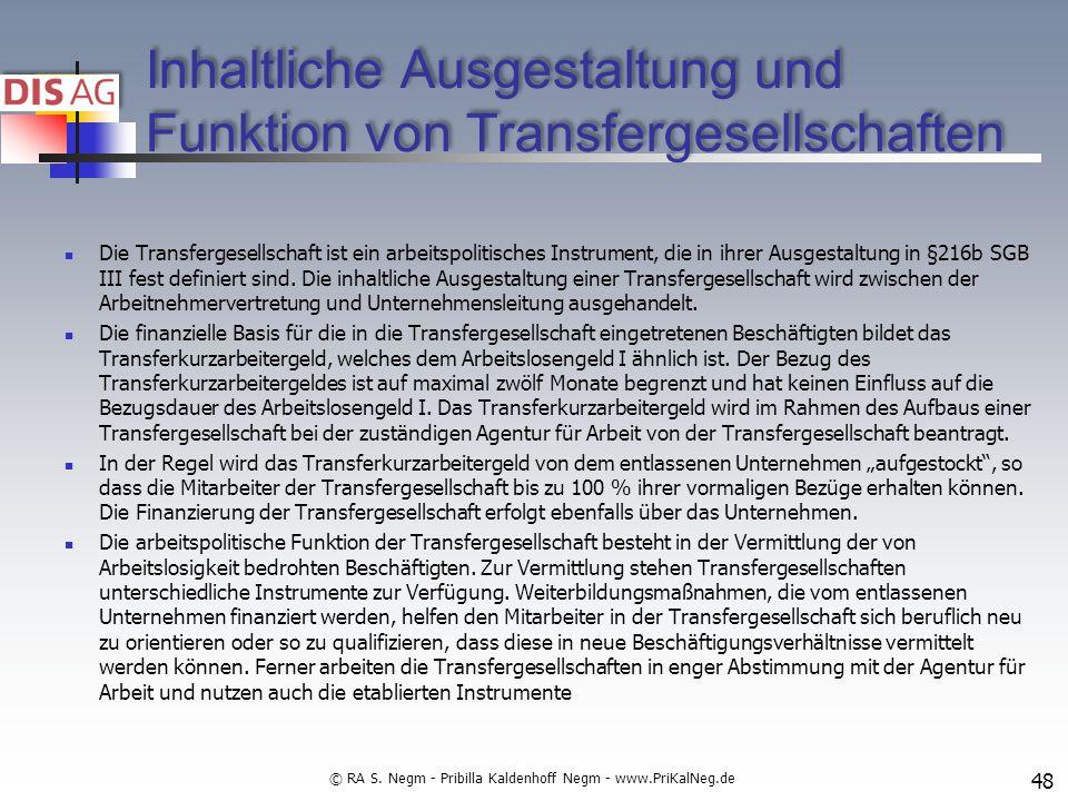 Inhaltliche Ausgestaltung und Funktion von Transfergesellschaften