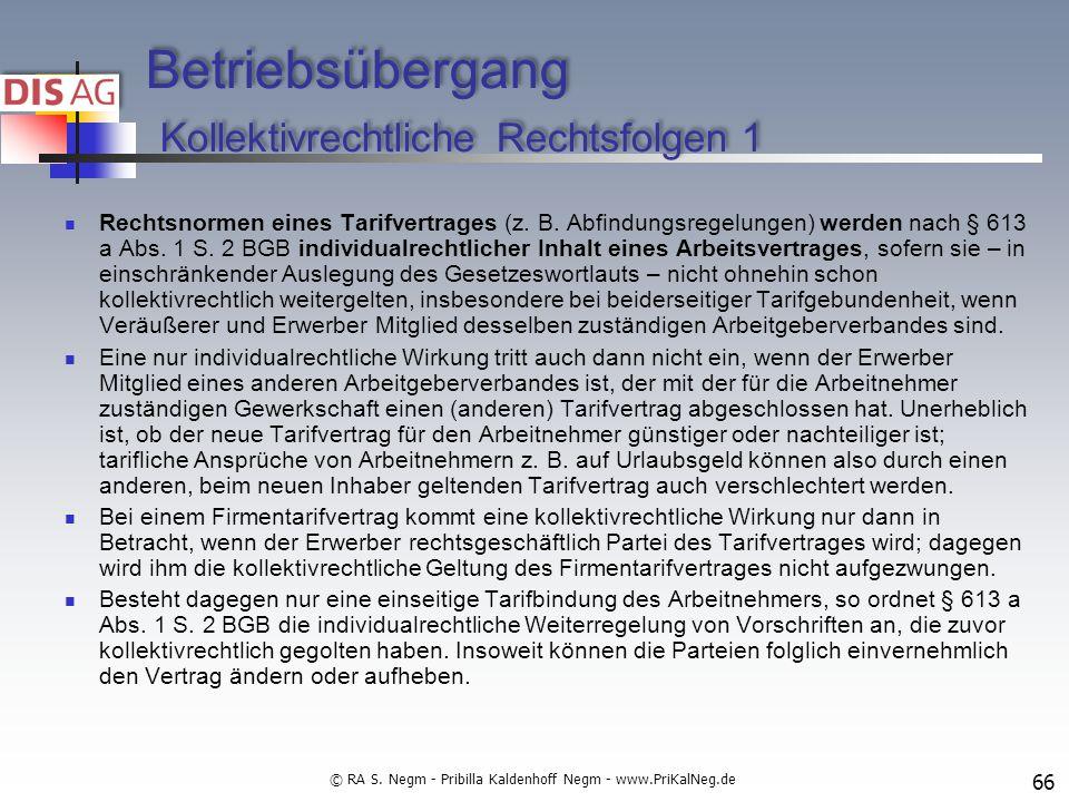 Betriebsübergang Kollektivrechtliche Rechtsfolgen 1
