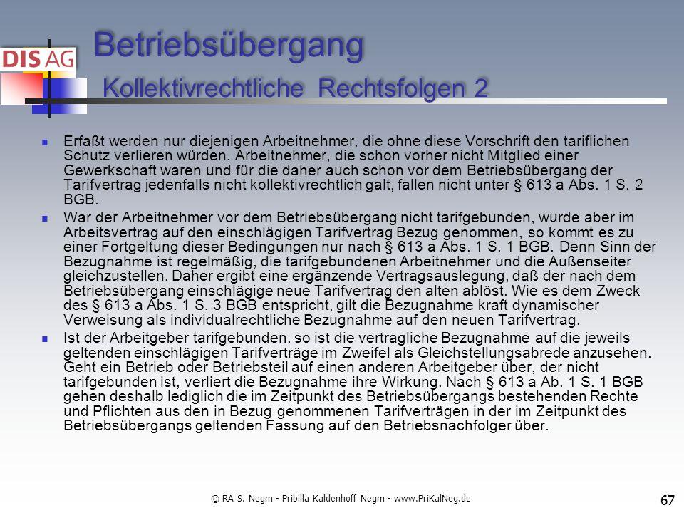 Betriebsübergang Kollektivrechtliche Rechtsfolgen 2