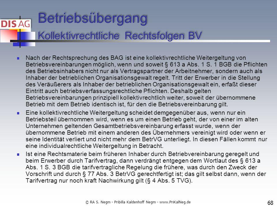 Betriebsübergang Kollektivrechtliche Rechtsfolgen BV