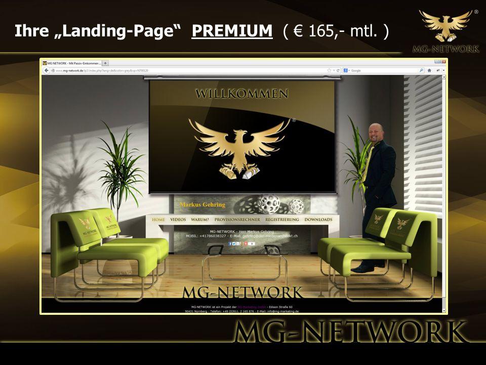 """Ihre """"Landing-Page PREMIUM ( € 165,- mtl. )"""