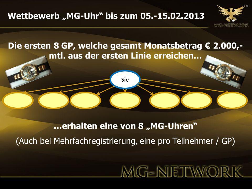 """…erhalten eine von 8 """"MG-Uhren"""