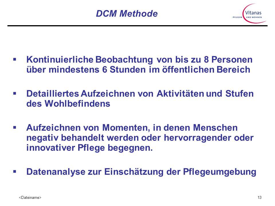 DCM Methode Kontinuierliche Beobachtung von bis zu 8 Personen über mindestens 6 Stunden im öffentlichen Bereich.