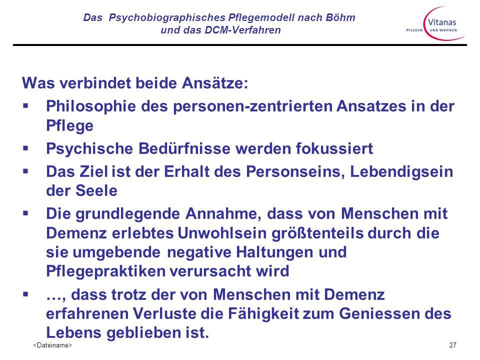 Das Psychobiographisches Pflegemodell nach Böhm und das DCM-Verfahren