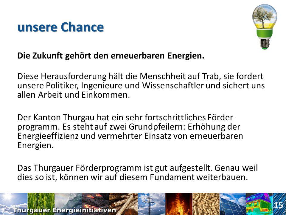 unsere Chance Die Zukunft gehört den erneuerbaren Energien.