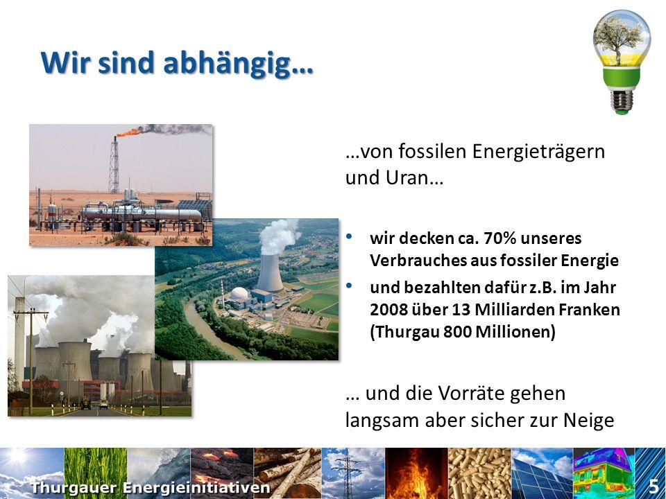 Wir sind abhängig… …von fossilen Energieträgern und Uran…