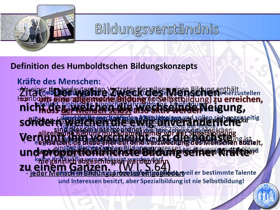 Bildungsverständnis Definition des Humboldtschen Bildungskonzepts. Kräfte des Menschen: