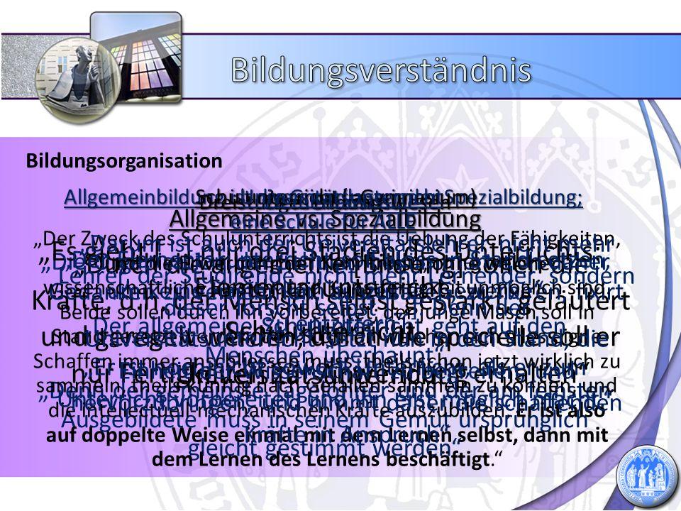 Bildungsverständnis Bildungsorganisation. Schulunterricht (=Gymnasium) Universitätsunterricht. Dreistufiges Bildungswesen.