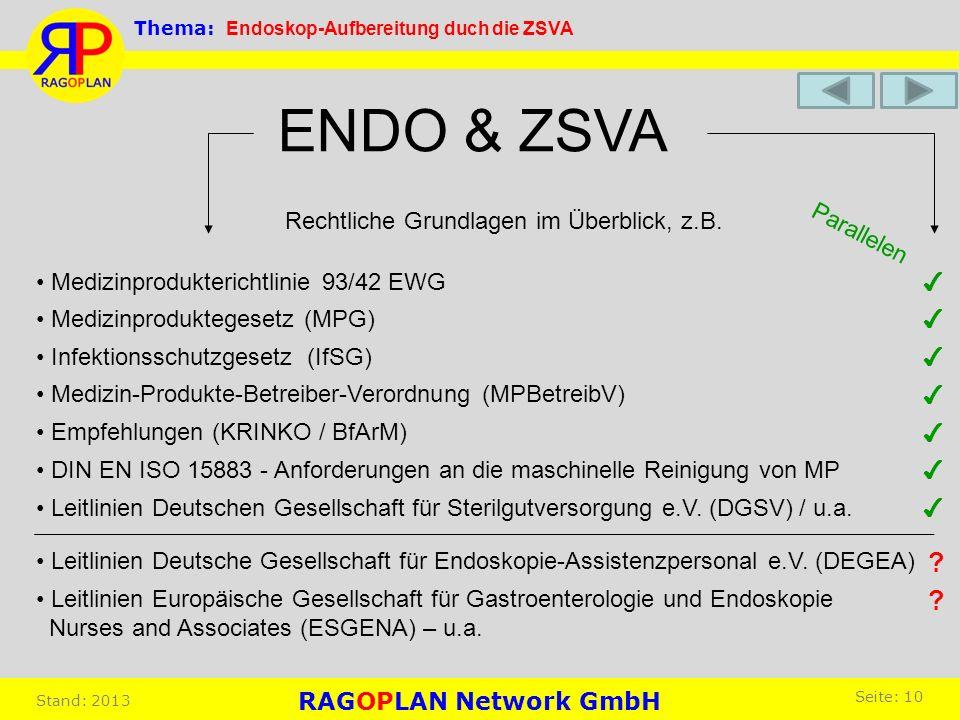 ENDO & ZSVA Rechtliche Grundlagen im Überblick, z.B. Parallelen