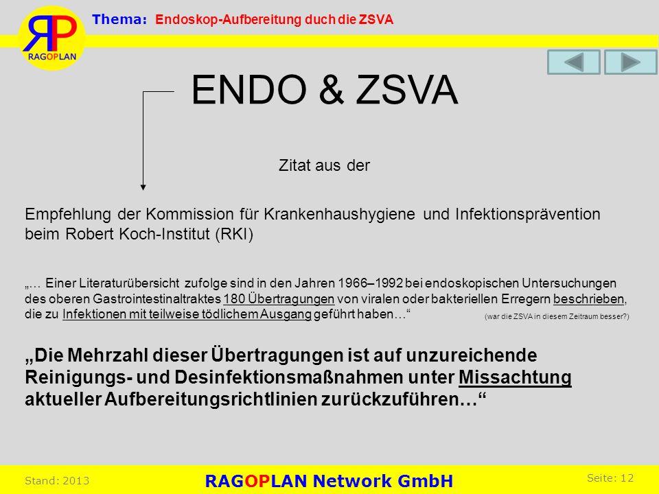Thema: Endoskop-Aufbereitung duch die ZSVA