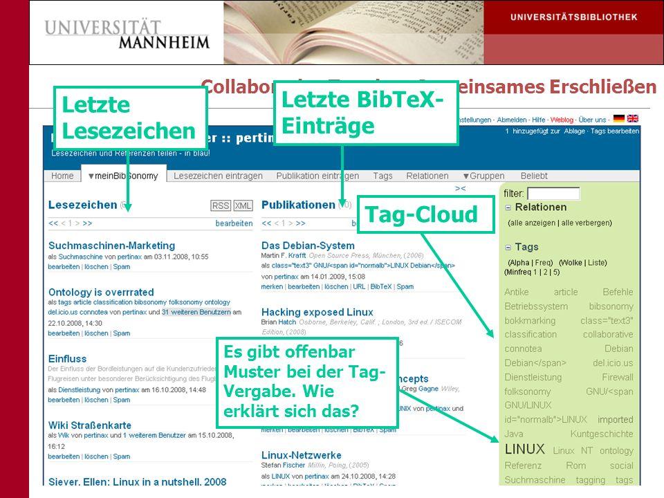 Letzte BibTeX- Einträge Letzte Lesezeichen