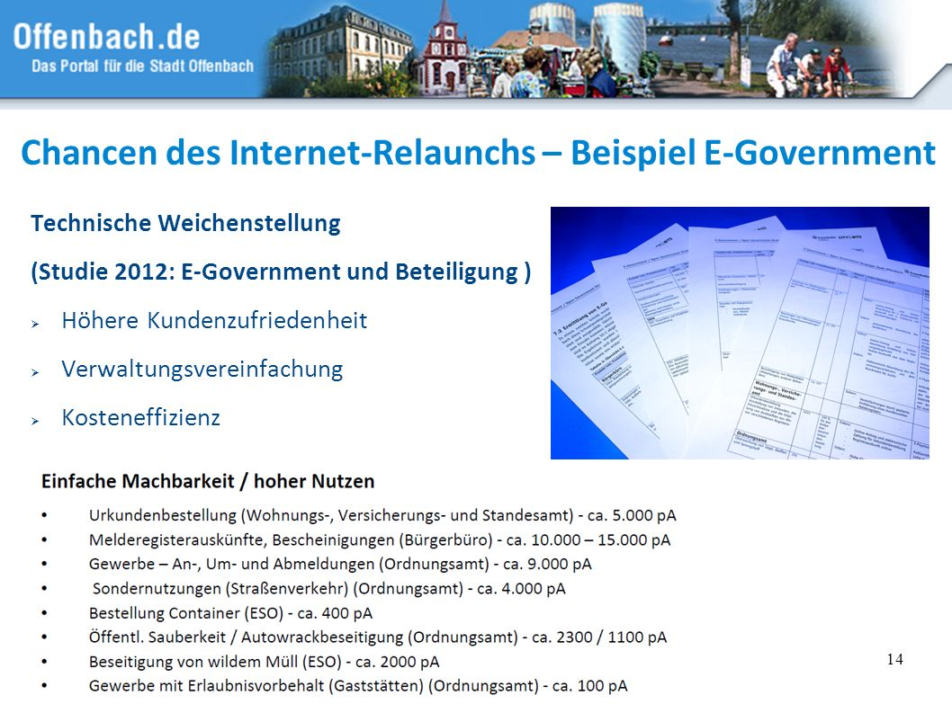 Chancen des Internet-Relaunchs – Beispiel E-Government