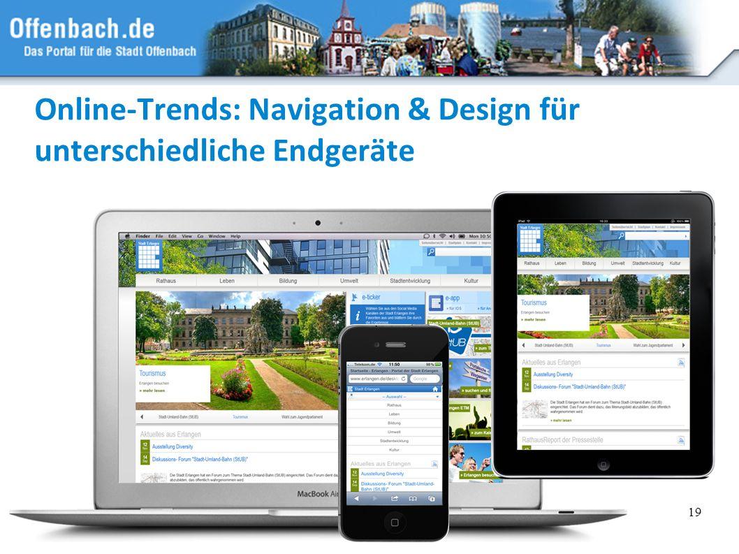 Online-Trends: Navigation & Design für unterschiedliche Endgeräte