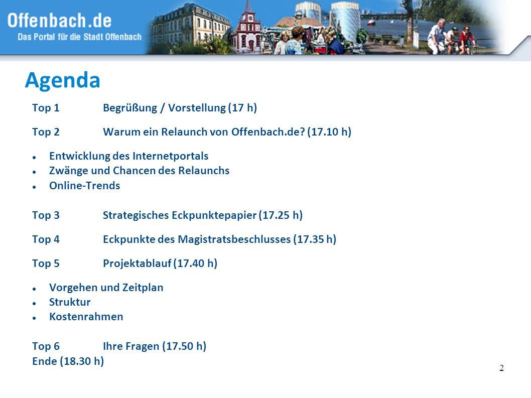 Agenda Top 1 Begrüßung / Vorstellung (17 h)