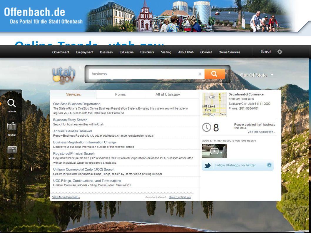 Online-Trends - utah.gov: Suchfunktion, strukturierter Zugang, gestalterische Innovation