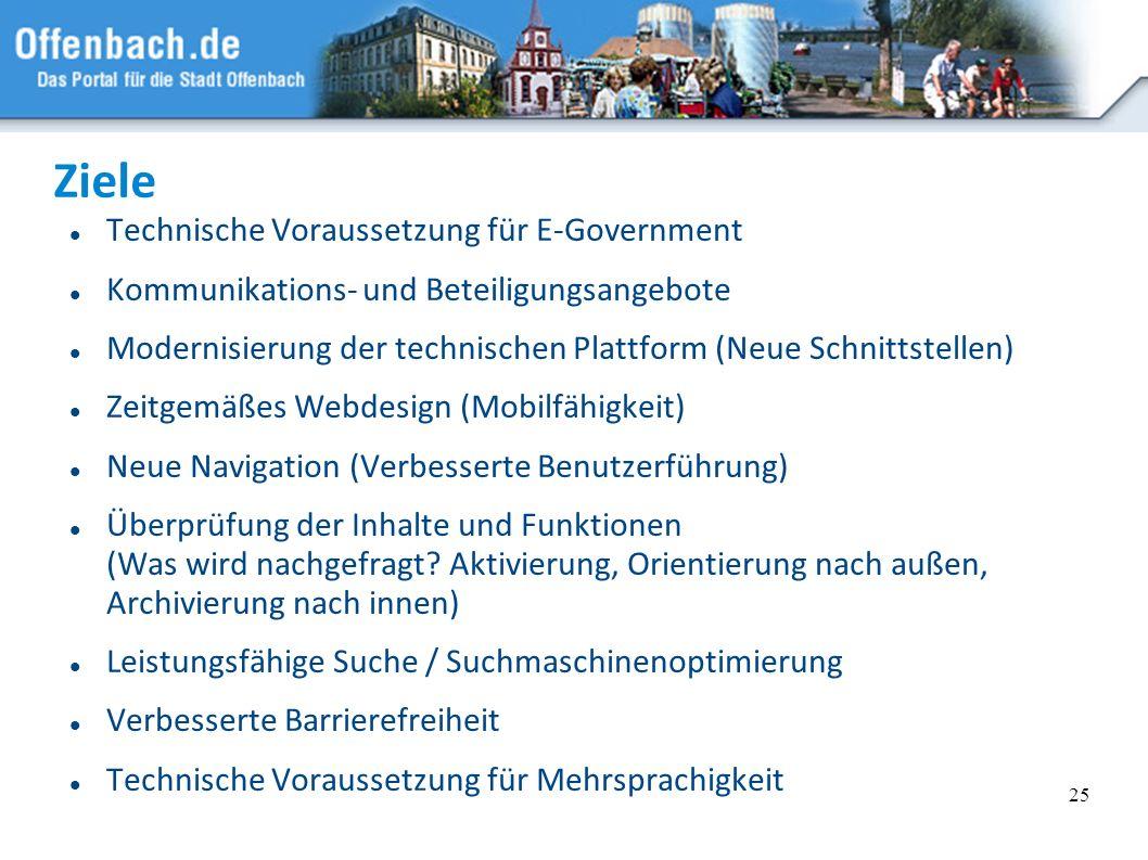 Ziele Technische Voraussetzung für E-Government