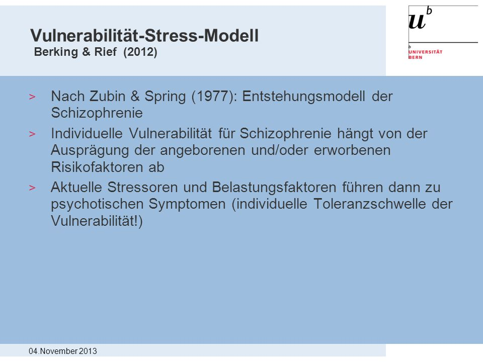 Vulnerabilität-Stress-Modell Berking & Rief (2012)