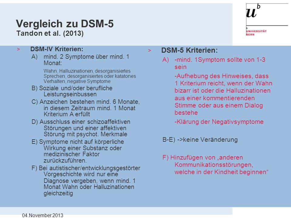 Vergleich zu DSM-5 Tandon et al. (2013)
